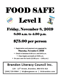 Food Safe Level 1, Nov 8 2019, 8:30am - 4:30pm, $75/person