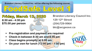 Food Safe Level 1, Mar 13 2020, 8:30am - 4:30pm, $75/person
